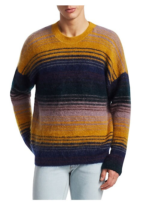 Image of Classic varied stripe sweater made from a rich mohair blend. Crewneck. Long sleeves. Ribbed trim. Mohair/nylon/wool/elastane. Dry clean. Made in Italy.