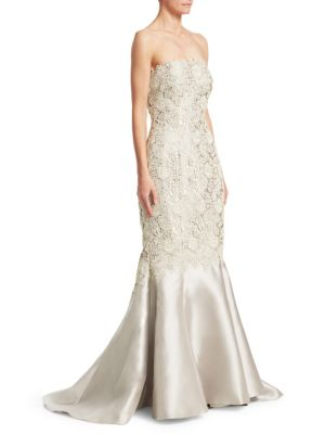 HELEN MORLEY Lace Mermaid Gown in Silver