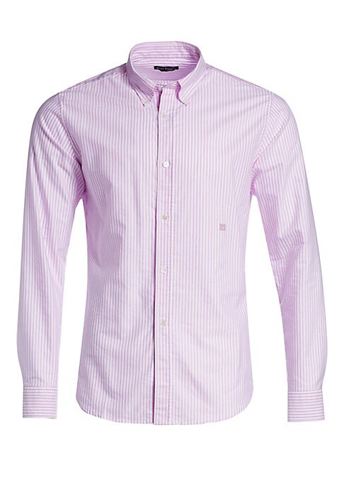 """Image of Button-front shirt in vertical striped print. Point collar. Long sleeves. Button-front. About 30"""" from shoulder to hem. Cotton. Dry clean. Made in Italy. ."""