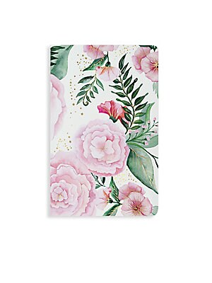 Image of From the New York Notebook Collection. Whimsical, romantic, and sparkling, our Melanie notebook features a velvety smooth cover with vibrant watercolor florals hand- painted by Ceci Johnson and is finished with twinkling gold foil accents. Soft touch Stai