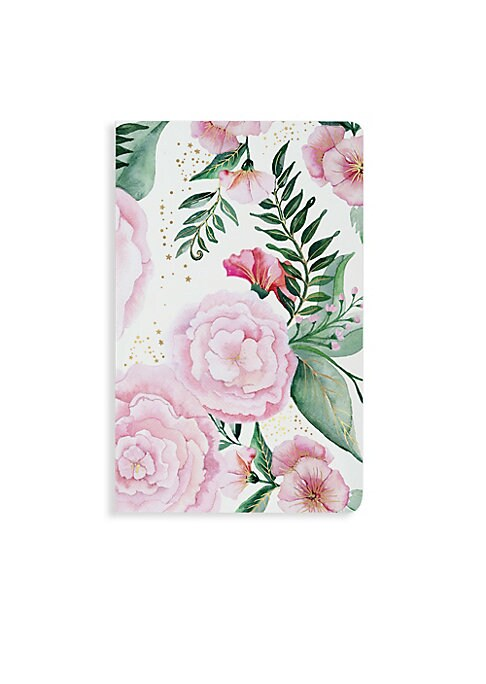 Image of From the New York Notebook Collection. Whimsical, romantic, and sparkling, our Melanie notebook features a velvety smooth cover with vibrant watercolor florals hand- painted by Ceci Johnson and is finished with twinkling gold foil accents. Soft touch. Sta