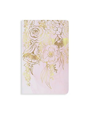 Image of From the New York Notebook Collection. Record all of your to-do lists, dreams, and ambitions in style with our Elodie notebook. Features a velvety smooth cover with blush watercolor swashes adorned with cascading hand-drawn florals in gold foil. Soft touc