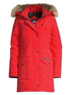 Trillium Fur-Hood Parka Jacket in Red