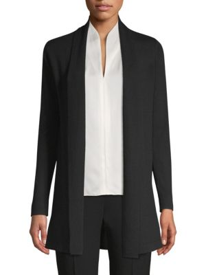 Adele Shawl-Collar Merino Cardigan Sweater in Black