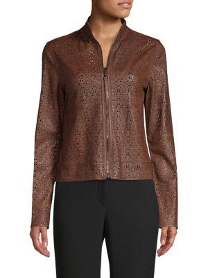 Highline Laser-Cut Leather Topper Jacket, Cocoa