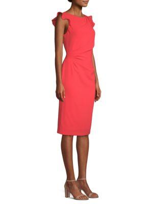 Elsie Boat-Neck Ruffle-Trim Sunburst Sheath Dress, Parrot Red