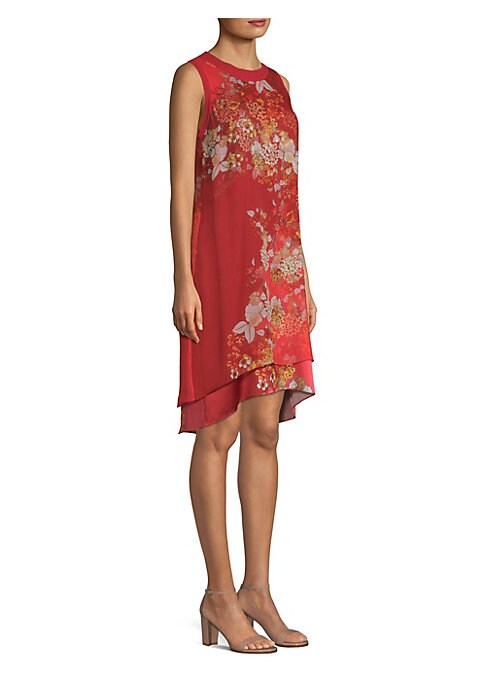 "Image of Elegant silk shift dress with layers of ethereal floral prints. Crewneck. Sleeveless. Pull-on styling. Sheer overlay. About 38.5"" from shoulder to hem. Shell: polyester/elastane. Lining: silk. Dry clean. Imported. Model shown is 5'10"" (177cm) wearing US s"