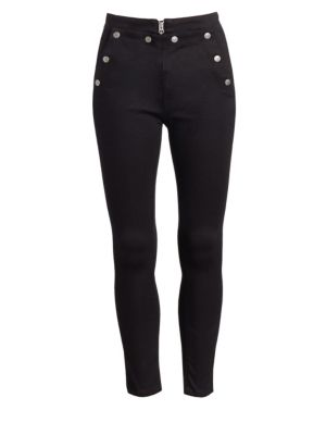 Penton High-Rise Skinny Jeans W/ Snaps & Lacing in 001 Black