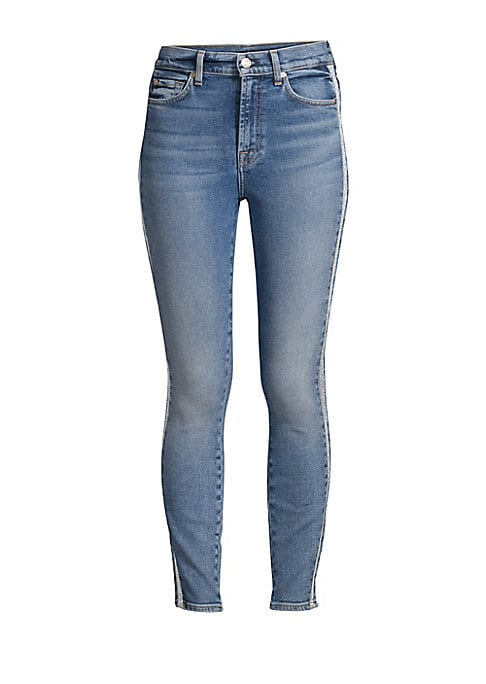 "Image of Ankle-length skinny jeans elevated with metallic side stripe detail. Belt loops. Zip fly with button closure. Five-pocket style. Rise, about 8"".Inseam, about 27"".Leg opening, about 9"".Cotton/modal/elastane/spandex. Machine wash. Made in USA. Model shown i"