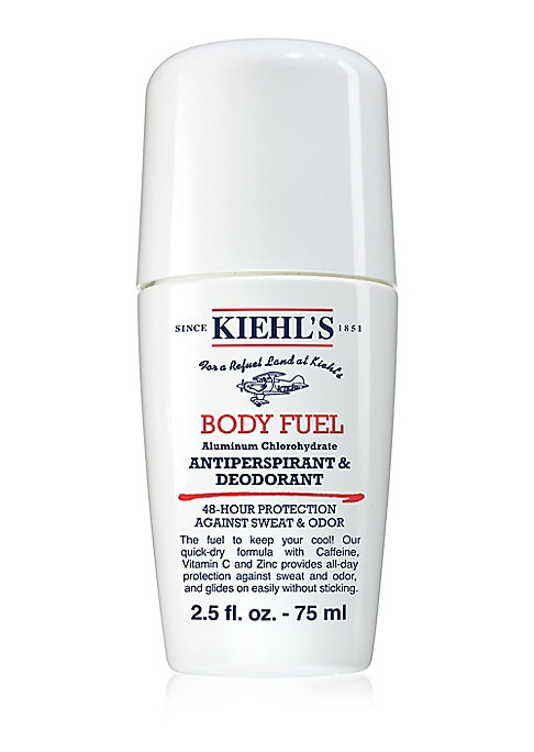 Image of WHAT IT IS. An effective and efficient men's antiperspirant and deodorant with 48-hour protection. Paraben-free, oil-free, Phthlate-free. 2.5 oz. Made in USA. WHO IT'S FOR. Men with all skin types. WHAT IT DOES. Body Fuel Antiperspirant & Deodorant glides