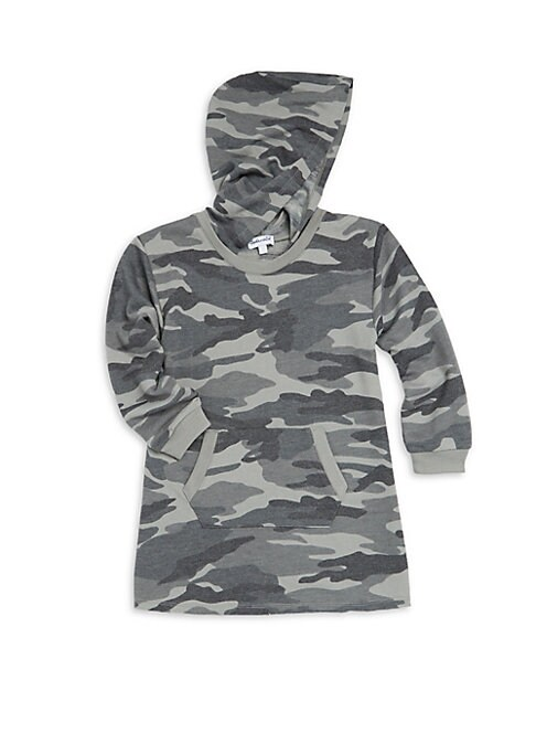 Image of On-trend hooded sweater dress featuring allover camouflage print and cute kangaroo pockets. Attached hood. Long sleeves with ribbed cuffs. Pullover style. Front split kangaroo pockets. Ribbed hem. Polyester/rayon. Machine wash. Imported.