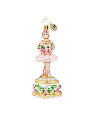 "Image of From the Euroglass Collection. Dainty ballerina wrapped in florals exhibit Nutcracker elegance. Glass Imported SPECIFICATIONS Height, 5.5"". Gourmet Food & - Trim A Home. Christopher Radko."