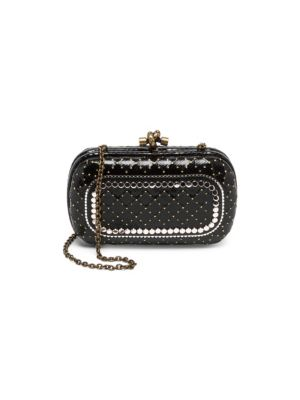 Karung Chain Knot Clutch Bag With Cantena Mirror Embellishment in Black