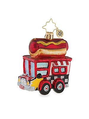 "Image of From the Euroglass Collection. Shimmering hot dog truck ornament handcrafted from glass. Glass Made in Poland SPECIFICATIONS Height, about 3.5"". Gourmet Food & - Trim A Home. Christopher Radko."