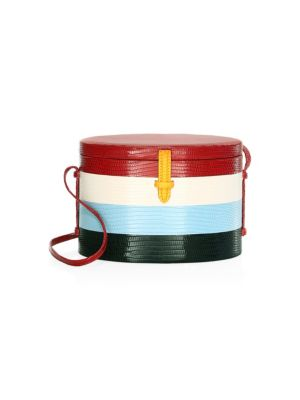 Trunk Striped Lizard-Skin Shoulder Bag in Red Multi