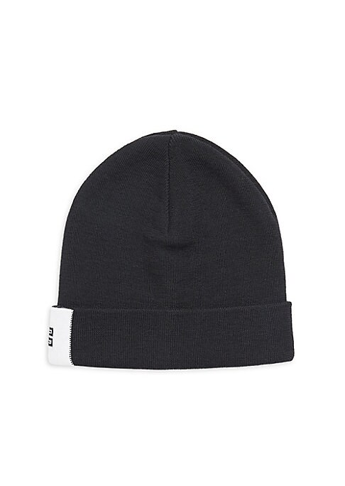 Image of Rib-knit beanie with contrasting logo detail. Wool. Dry clean. Made in Italy.
