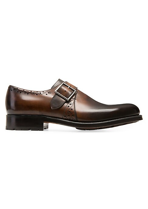 Image of Polished leather dress shoe with darkened toe and heel complimented with a classic brogue trim. Leather upper. Single monk strap. Leather lining. Leather sole. Imported.