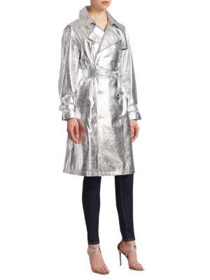 Jayne Metallic Leather Trench Coat, Silver