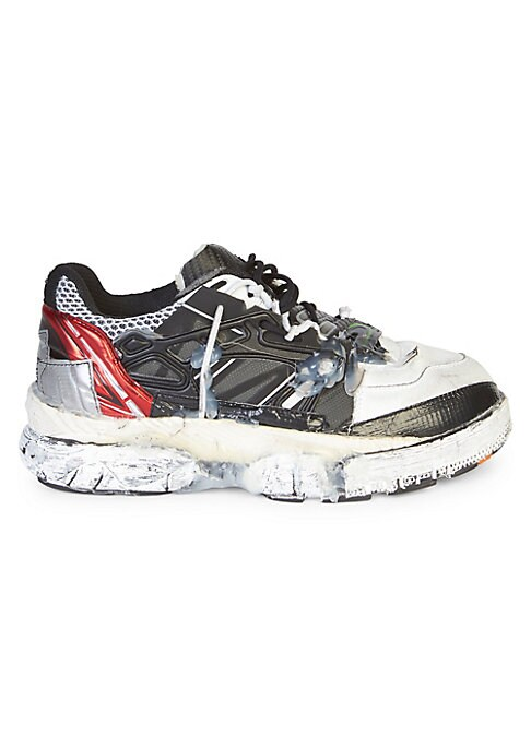 Image of From the Saks IT LIST. THE CHUNKY SNEAKER. Kickitup a notch with the latest wave in footwear. Wrecked, industrial style runners with mesh and leather panels. Leather/fabric upper. Round toe. Lace-up vamp. Rubber sole. Made in Italy.