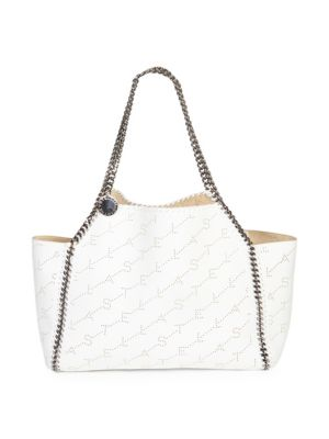 Falabella Faux Leather Monogrammed Dual Tote Bag, White