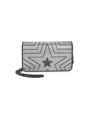 Stella Star Small Metallic Alter Napa Shoulder Bag, Black