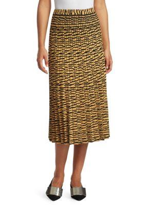 Pleated Animal-Print Jacquard Midi Skirt, Gold