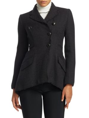 Asymmetric Button-Front Cotton Tweed Jacket, Black