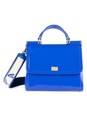 Sicily Large Plus Gomma Plexi Top-Handle Bag, Blue
