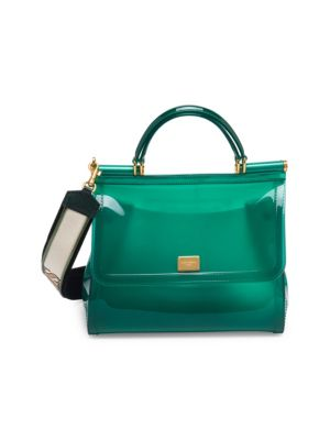 Sicily Large Plus Gomma Plexi Top-Handle Bag, Green