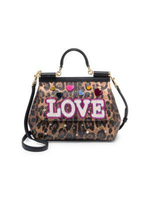 Embellished Leopard-Print Leather Top-Handle Bag