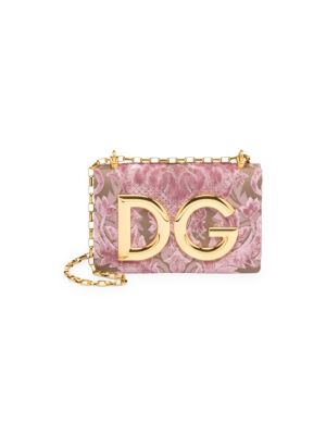 Dg Girls Shoulder Bag In Velvet Brocade, Nude