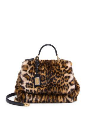 Sicily Medium Leo Pellicciotto Faux-Fur Satchel Bag in Leopard Print