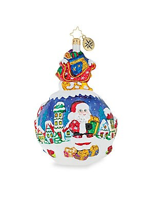 "Image of From the Euroglass Collection. Kitsch bauble ornament flaunts idyllic Santa and winter wonderland imagery. Glass Imported SPECIFICATIONS Length, 6.5"". Gourmet Food & - Trim A Home. Christopher Radko."