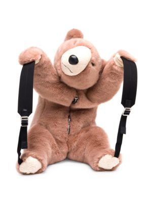 Dolce And Gabbana Pink Eco Fur Teddy Bear Backpack in Neutrals