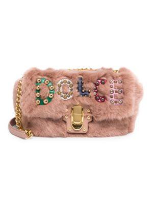 DOLCE & GABBANA Faux Fur Logo Shoulder Bag