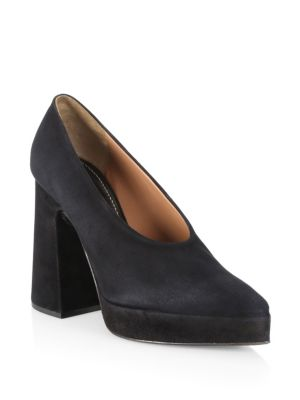 Ave Suede Chunky Platform Pumps in Black