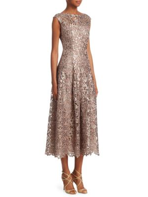 Talbot Runhof Linings Metallic Lace Midi Dress