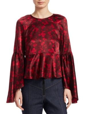 Floral Silk Bell-Sleeve Flounce Top in Rubarb/Camilla Re
