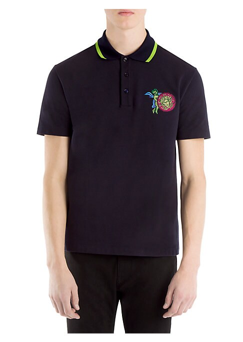 Image of Medusa embroidery elevates stunning knit polo. Striped polo collar. Short sleeves. Three-button placket. Cotton. Dry clean. Made in Italy.