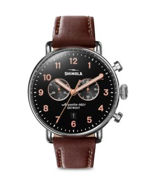 Shinola Canfield Stainless Steel Chronograph Leather Strap Watch