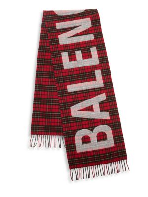 Tartan Logo-Print Wool Scarf in Red