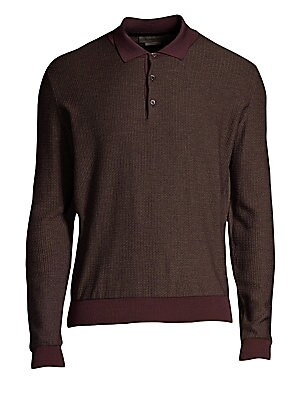 "Image of A contrast polo collar, cuffs and hem elevate this wool and cashmere shirt. Polo collar Long sleeves Ribbed cuffs and hems Three-button placket Wool/cashmere Dry clean Made in Italy SIZE & FIT About 27"" from shoulder to hem. Men Luxury Coll - Corneliani C"