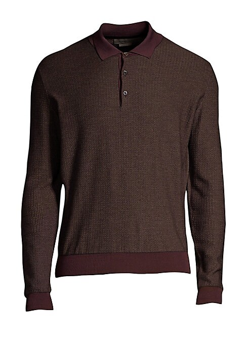 """Image of A contrast polo collar, cuffs and hem elevate this wool and cashmere shirt. Polo collar. Long sleeves. Ribbed cuffs and hems. Three-button placket. Wool/cashmere. Dry clean. Made in Italy. SIZE & FIT. About 27"""" from shoulder to hem."""