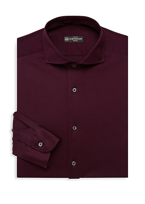 """Image of A rich burgundy button-up crafted from soft Italian cotton. Spread collar. Long sleeves. Buttoned barrel cuffs. Button front. Cotton. Machine wash. Made in Italy. SIZE & FIT. Modern fit. About 29"""" from shoulder to hem."""