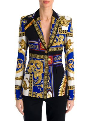 Long-Sleeve Cady Two-Button Print Jacket