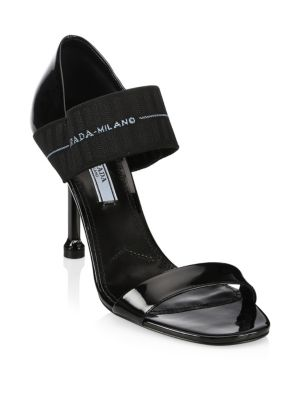 Logo-Strap Patent-Leather Sandals in Black