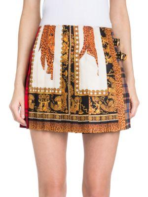 Signature-Tartan Pleated Silk Mini Skirt, Black Gold
