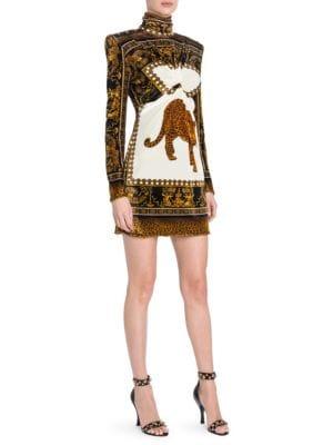Long-Sleeve Ruche Printed Mini Shift Dress, Black Gold