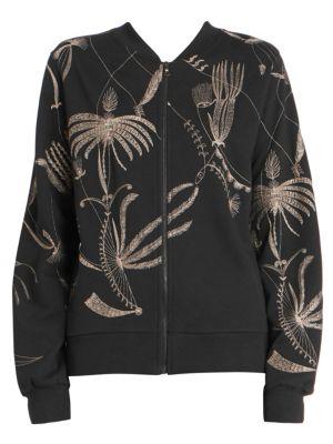 Flower-Jacquard Bomber Jacket, Black-Cream
