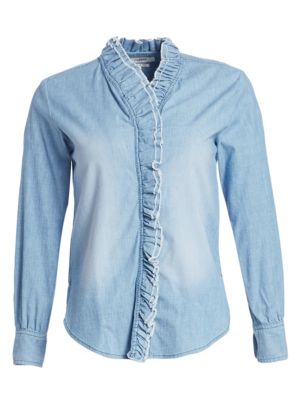 Isabel Marant Etoile Lawendy Ruffled Chambray Shirt